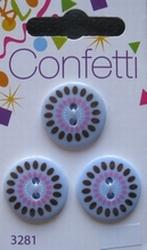 3 knopen - Confetti  20 mm
