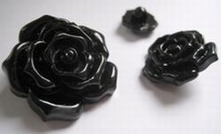 Bloem - Knoop / zwart  39 mm