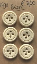 6 Buttons - Bone  17 mm