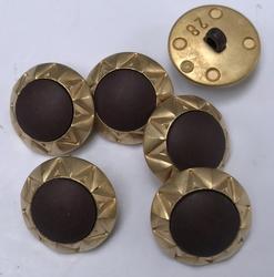 Gold-Knoop met donker bruine kern  18 mm