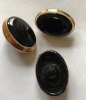 Glasknoop - zwart  23 x 17 mm