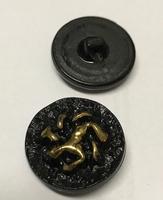 Glasknoop - zwart/goud  14 mm