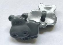 Nijlpaard - grijs  14 x 15 mm