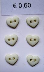 6 minihartjes  - pastelgeel  6  x 7 mm