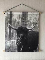 Wandkleed Friese Schotse hooglander  50 x 40 cm