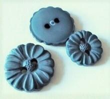 Bloemknoop - blauw  15 mm