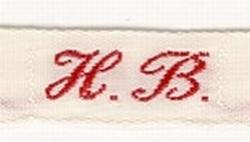 1 Initiaal - Lint H.B.  Lint 1 cm breed