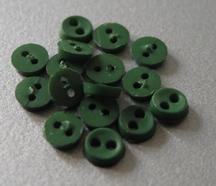 6 Miniknöpfe - dunklergrün  4 mm