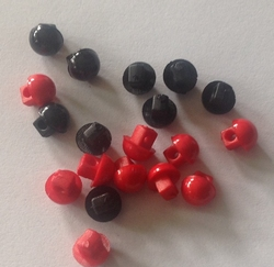6 mini buttons - red  5 mm