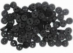 6 Miniknöpfe - Schwarz  4 mm