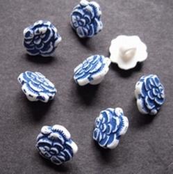Bloemknoop - blauw  11 mm