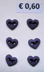 6 Miniherzen - purpleblau  6  x 7 mm