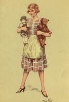 Vrouw met pop en beer  15 x 10,5 cm
