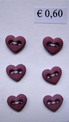 6 Miniherz - Rosa- Alt  6  x 7 mm