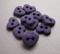6 minihartjes  - paars  6  x 7 mm