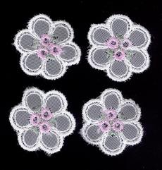 4 Bloemetjes  - lila  26 mm