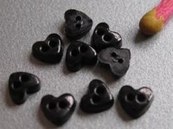 6 micro minihartjes - zwart  4 mm