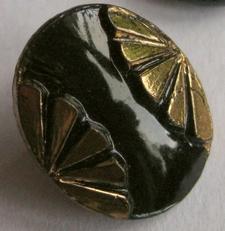 Knopf - Schwarz/gold  13 x 10,5 mm