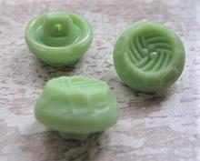 Glasknoop - groen  14 x 11 mm
