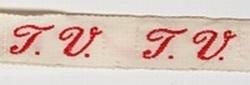 1 Initiaal - Lint T.V.  Lint 1 cm breed