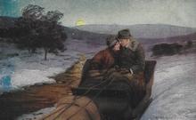 Postkart - Die Fahrt ins Glück  14 x 9 cm