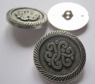 Zilverkleurknoop  28 mm
