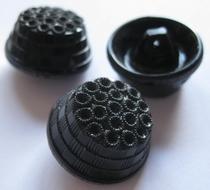 Glasknoop - zwart  23 mm