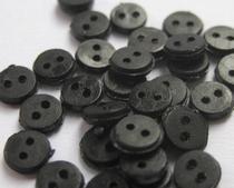 6 miniknoopjes - zwart  4 mm