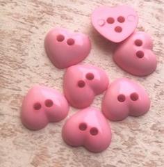 6 minihartjes  - rose  9 x 10 mm