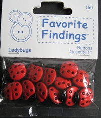 1 knoop - Ladybugs  18 x 15 mm