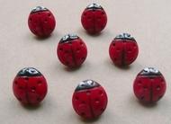 Glasknoop - rood/kever  12 mm