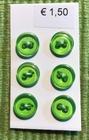 6 knoopjes - groen 8 mm