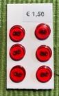 6 knoopjes - rood 8 mm