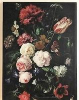 Stilleven met bloemen in glazen vaas