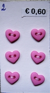 6 Hearts - Button 6  x 7 mm