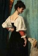Portret van een jonge vrouw met de hond Puck