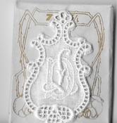 6 Monogrammen D.L. 4,5 x 2,5 cm