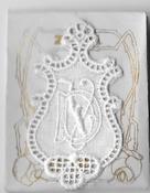 6 Monogrammen - D.V. 4,5 x 2,5 cm