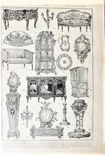 Orgineel blad uit Larouse - Styles Louis XV - XVI 28 x 18 cm