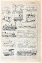 Orgineel blad uit Larouse - Locomotiv 28 x 18 cm