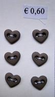 6 Miniherz - Grün/Grau 6  x 7 mm