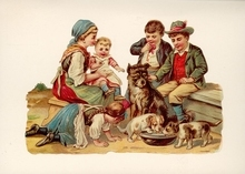 Familie met hondjes 15 x 10,5 cm