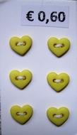 6 minihartjes  - geel 6  x 7 mm