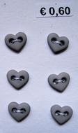 6 Miniherz - Grau 6  x 7 mm