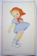 Meisje met blauw jurkje 14 x 9 cm