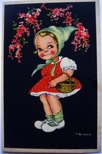 Meisje met bloemen 14 x 9 cm