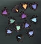 12 Hartjes gekleurd in zwart 16 x 18 mm