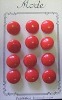 12 Glasknopen op orgineel kaartje- rood 11 mm