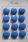 12 Glasknopen op orgineel kaartje- blauw 15 mm