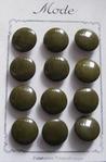 12 Glasknopen op orgineel kaartje- bruin 15 mm